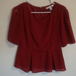 Forever 21 Short Sleeve Red Blouse